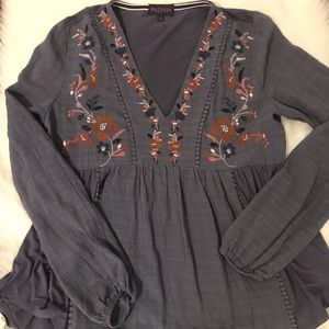 Atresia Fall Floral Embroidered Tunic Boho Chic S